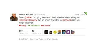 Illustration for article titled Let's Help LeVar Burton Get @ReadingRainbow Where It Belongs