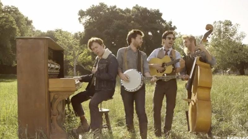 Jason Sudeikis, Ed Helms, Jason Bateman, and Will Forte play Mumford & Sons in the band's hilarious new video