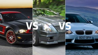Illustration for article titled Ford Mustang Boss 302 vs Cadillac CTS-V coupe vs BMW M3: Which to buy?