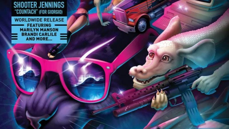 Illustration for article titled Neon noir meets outlaw country in Shooter Jennings' tribute to Giorgio Moroder