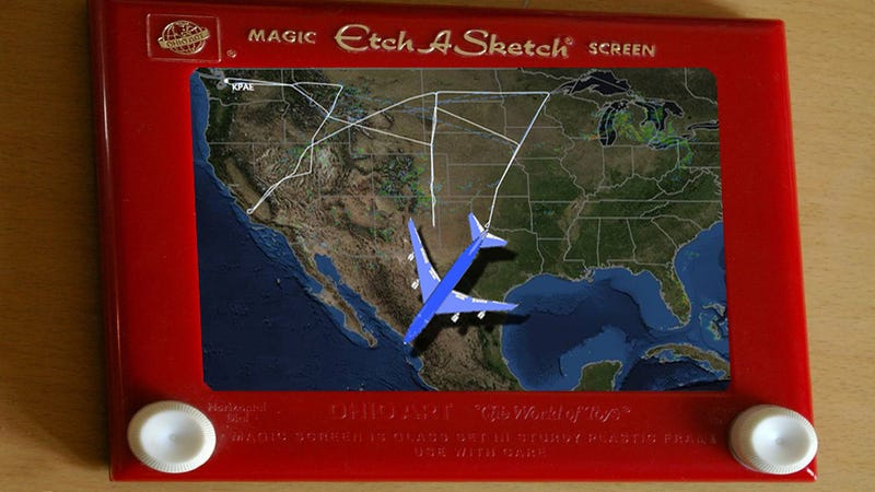 """Illustration for article titled Clever Boeing crew sky-writes """"747"""" across United States"""