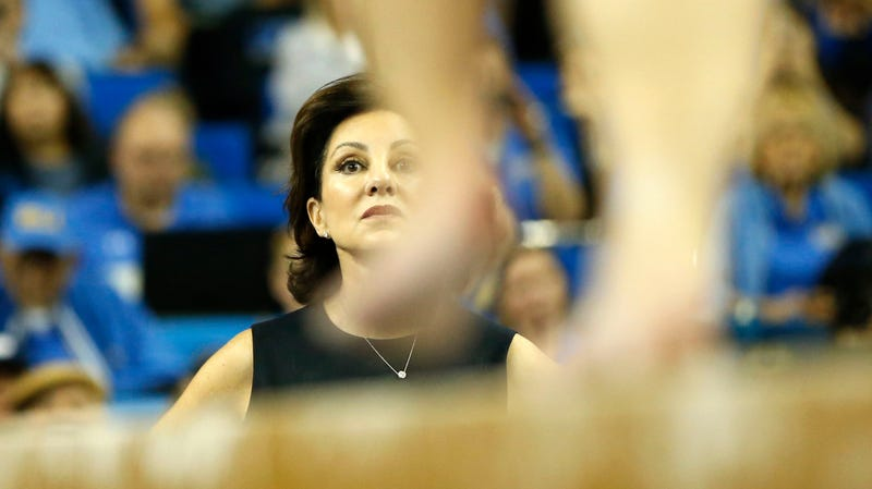 UCLA gymnastics head coach Valorie Kondos-Field watches as Katelyn Ohashi competes on balance beam during a meet against Stanford at Pauley Pavilion on March 10, 2019 in Los Angeles, California.