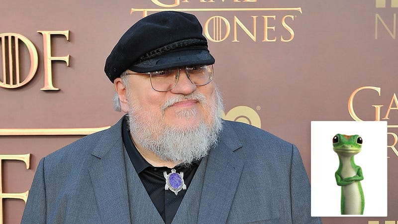 Illustration for article titled GoT Fans Rejoice: George R.R. Martin Says He Can Now Finish The Winds Of WinterSince Geico Has Given Him Legal Clearance To Use Their Gecko Mascot As A Character