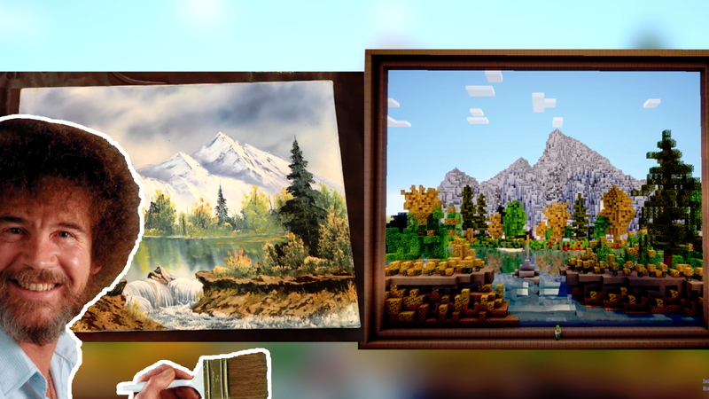 Someone Recreated A Bob Ross Painting In Minecraft