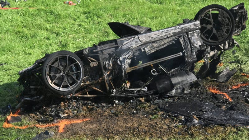 Hammond's crashed Rimac One. Photo credit: The Grand Tour