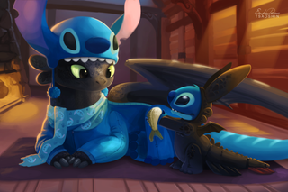 Illustration for article titled When Toothless And Stitch Have Sleepovers, They Dress Up As Each Other