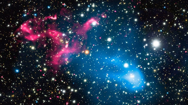 Image: X-ray: NASA/CXC/SAO/R. van Weeren et al; Optical: NAOJ/Subaru; Radio: NCRA/TIFR/GMRT