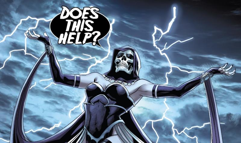 Death revealing her true face in Ben Reilly: Spider-Man #7.