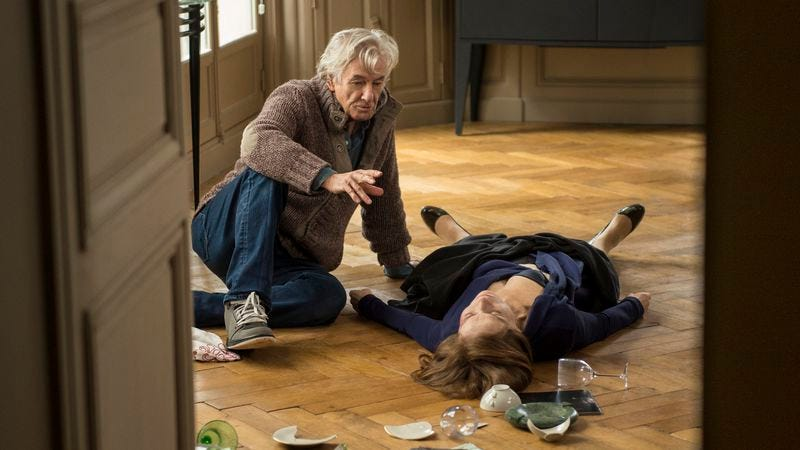 Verhoeven and Isabelle Huppert on the set of Elle. (Photo: Sony Pictures Classics)