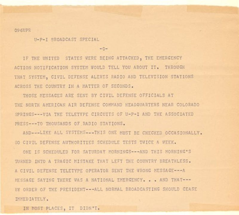 This Message from NORAD Announced Global Nuclear War—In 1971