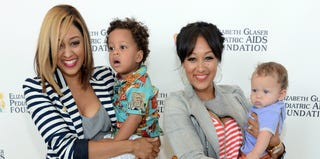 Tia Mowry-Hardrict and Tamera Mowry-Housley with their sons (Jason Kempin/Getty Images)