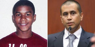 Trayvon Martin (family photo); George Zimmerman at a bond hearing (AFP/Getty Images)