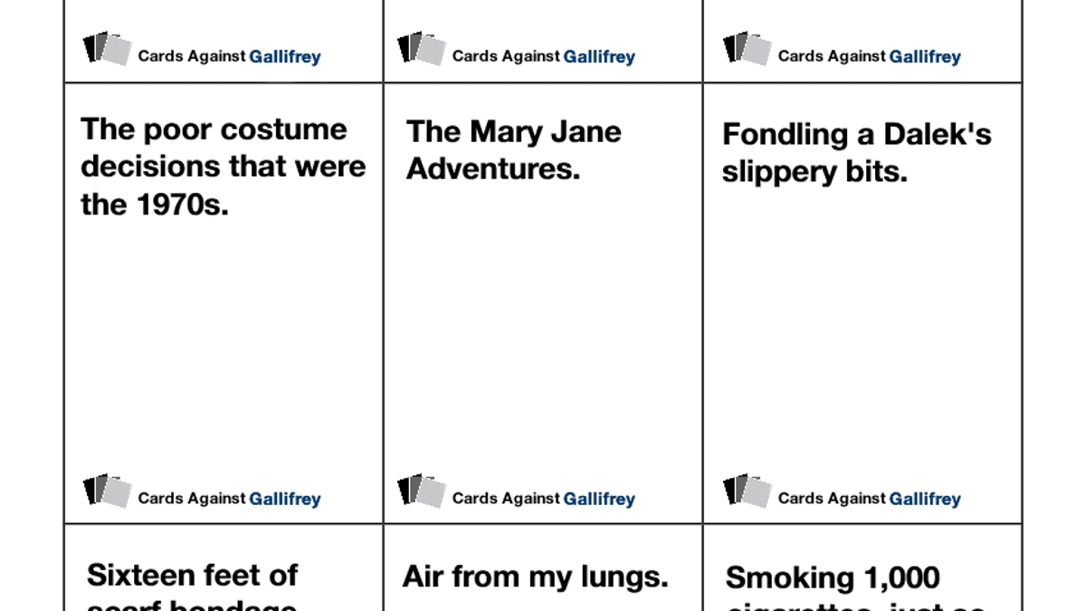picture regarding Cards Against Humanity Printable referred to as Print out the Physician Who variation of Playing cards In opposition to Humanity
