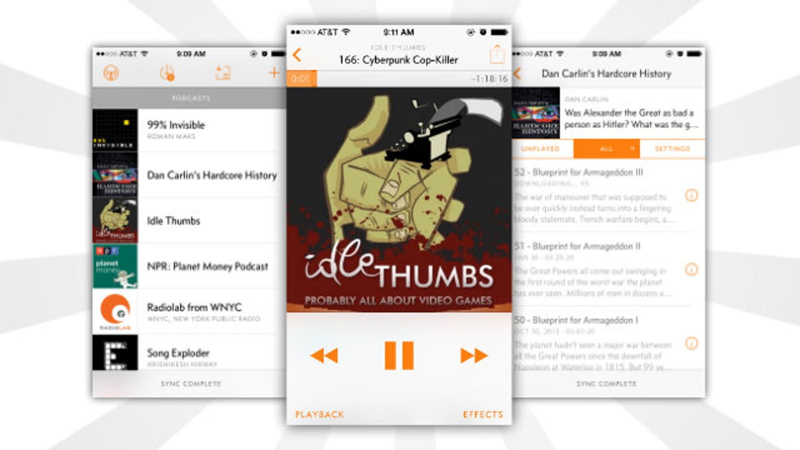 overcast is a free powerful podcast app with a syncing web player