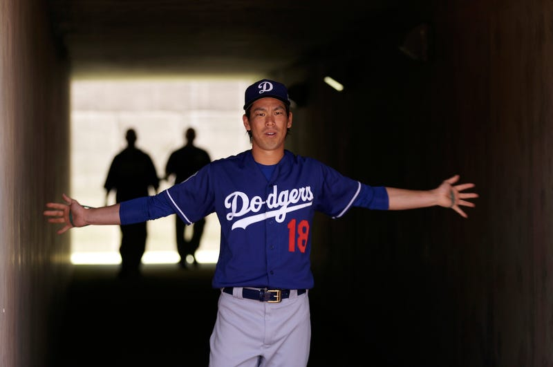 Kenta Maeda stretches in the tunnel before a spring training game in Phoenix. Via AP.