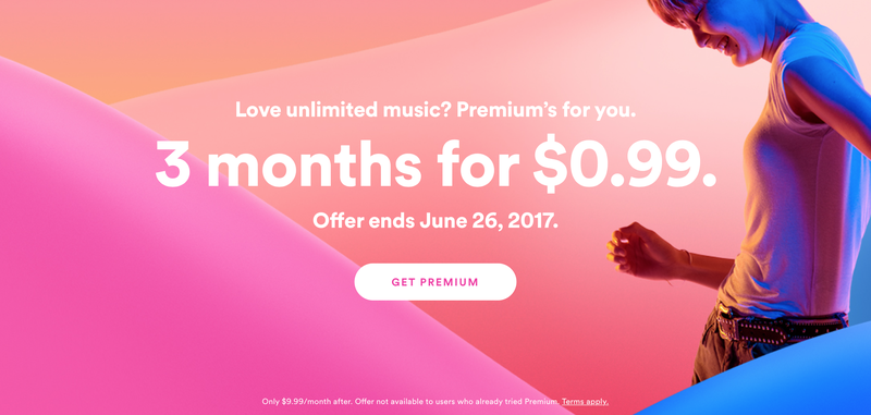 3 Months Spotify Premium, $1. New Premium members only.