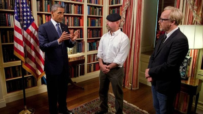 """Illustration for article titled MythBusters: """"President's Challenge"""""""