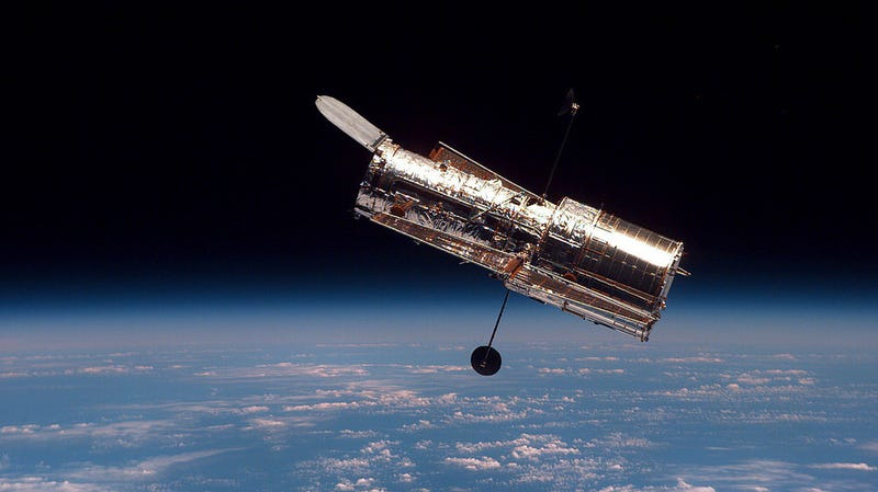 Hubble as seen by Space Shuttle Discovery in 1997.
