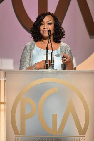 Shonda Rhimes accepts the Norman Lear Achievement Award at the 27th Annual Producers Guild of America Awards at the Hyatt Regency Century Plaza on Jan. 23, 2016, in Century City, Calif.Kevin Winter/Getty Images