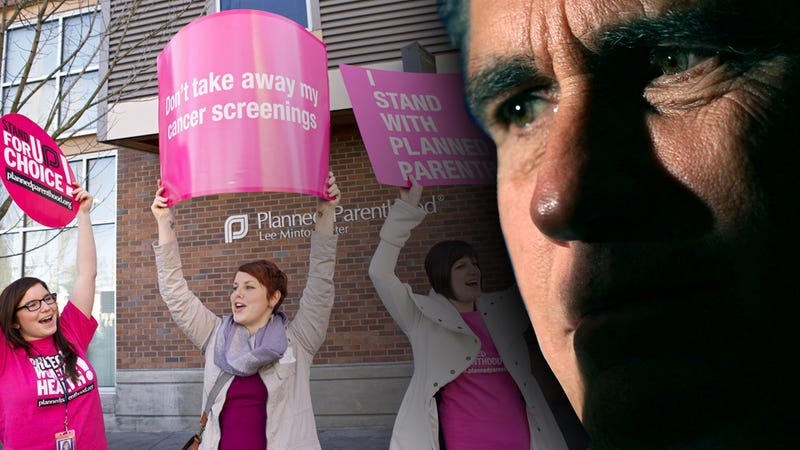 Illustration for article titled Mitt Romney Vows to 'Get Rid' of Planned Parenthood Like It's an Unplanned Pregnancy