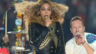 Beyoncé and Chris Martin perform during halftime at Super Bowl 50 at Levi's Stadium in Santa Clara, Calif., on Feb. 7, 2016.TIMOTHY A. CLARY/AFP/Getty Images