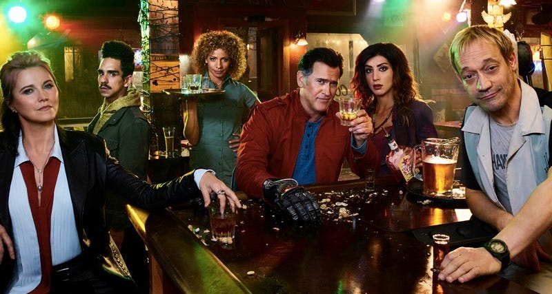 Lucy Lawless (Ruby), Ray Santiago (Pablo), Michelle Hurd (Linda B.), Bruce Campbelle (Ash Williams), Dana DeLorenzo (Kelly), and Ted Raimi (Chet). Images courtesy of Starz.
