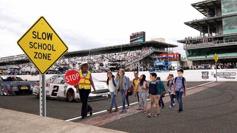Illustration for article titled Indianapolis Motor Speedway Forced To Lower Speed Limit To 20 MPH After Elementary School Opens Next To Straightaway