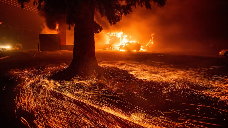 Flames consume a fast food restaurant as the Camp Fire tears through Paradise, Calif., on Thursday, Nov. 8, 2018.