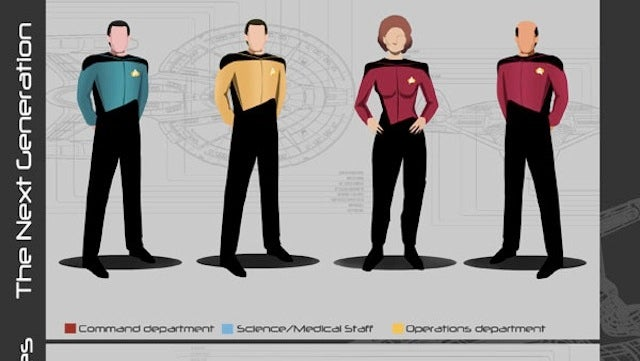 see starfleet s fashion evolution with this guide to star trek uniforms rh io9 gizmodo com star trek next generation uniform color guide star trek discovery uniform guide