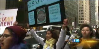 Student protesters in Chicago. (Screengrab from ABC Chicago)