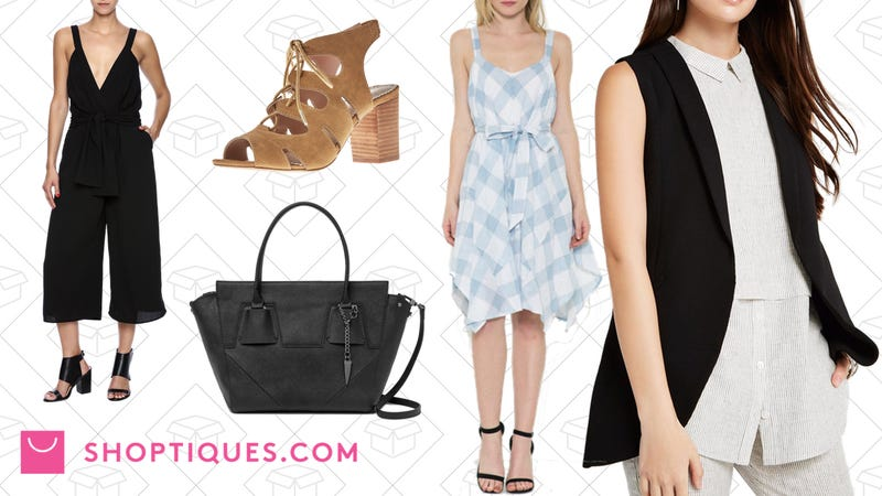 Luxxel Culottes Romper, $50 | Restricted Lace Up Heel, $40 | Botkier Cooper Black Satchel, $225 | Esley Collection Blue Gingham Dress, $49 |BCBGeneration Striped Collar Top, $49