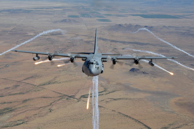 An EC-130H deploys IR flares during a training mission over southern Arizona. Photo credit Gary Wetzel