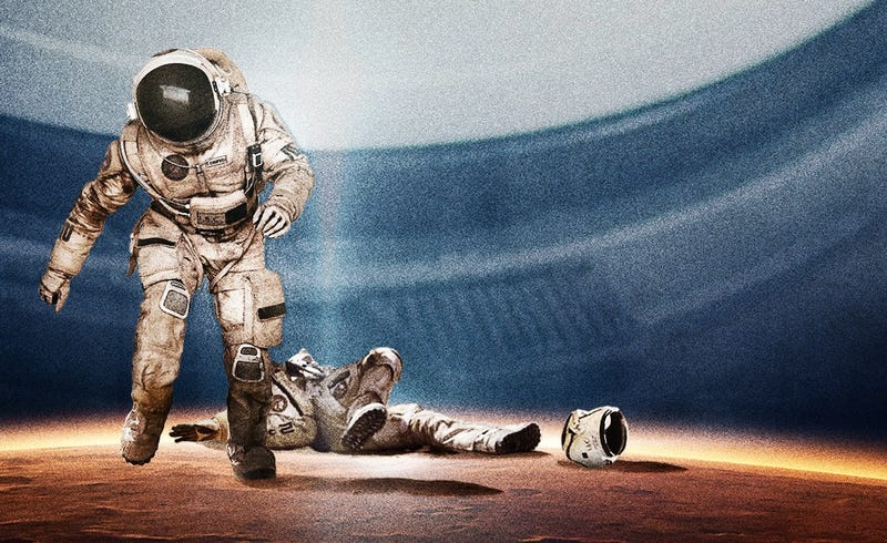 Illustration for article titled Last Days on Mars poster shows a brawl on the red planet