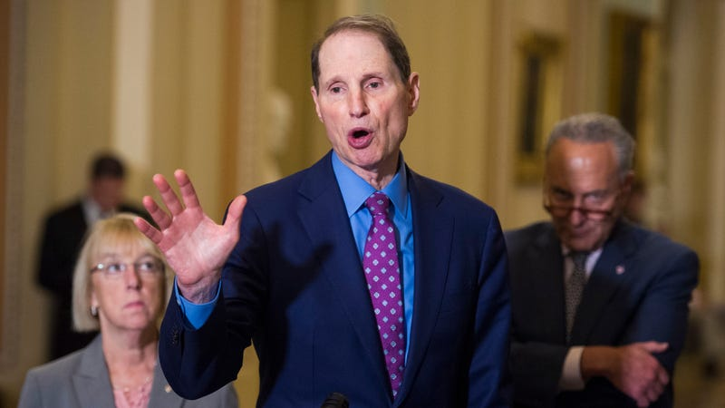 Sen. Ron Wyden, D-Ore., center, speaks with reporters while Sen. Patty Murray, D-Wash., left, and Minority Leader Chuch Schumer of N.Y., watch following their policy luncheon on Capitol Hill, in Washington, Wednesday, Sept. 5, 2018.