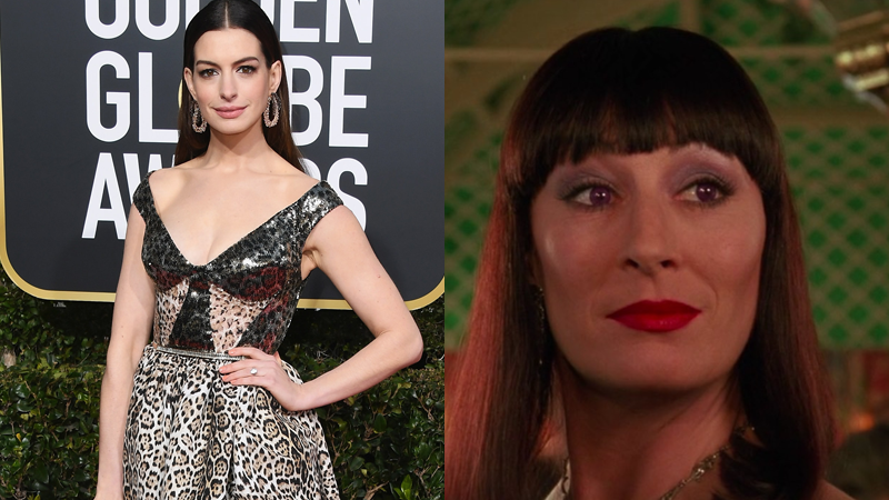 Anne Hathaway, seen at the Golden Globes last week, is taking on the role Anjelica Huston played in a retelling of The Witches.
