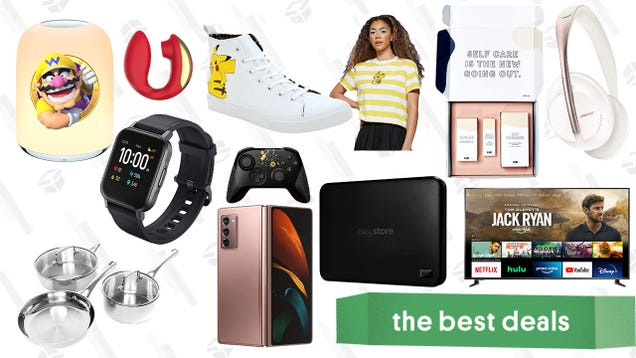 Tuesday s Best Deals: Pokémon Anniversary Apparel, Aukey Smart Watch, Insignia 70  4K TV, Samsung Galaxy Z Fold 2, Blume Self Care Bundle, Cuisinart Cookware, and More