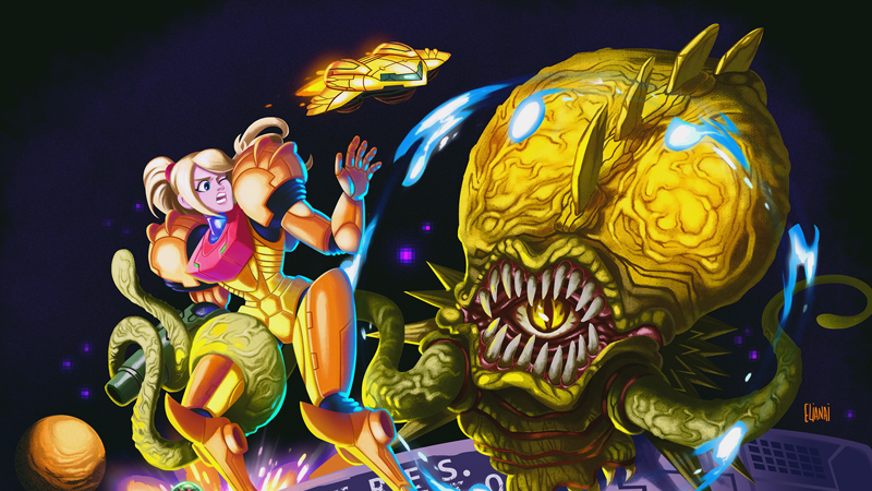 Super Metroid Boss Phantoon Steps Into Ridleys Shoes By Surprising Samus In Artist Elianai Dos Santos Fan Art Via TheOmegaNerd