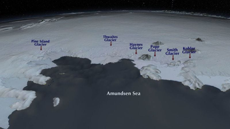 Bird's eye view of the Amundsen sea embayment, where major glaciers of the West Antarctic ice sheet empty into the ocean. Pope, Smith, and Kohler glaciers were the focus of this study. Image: NASA/GSFC/SVS