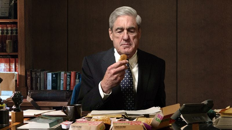 Illustration for article titled Disgusted Robert Mueller Eats 2 20-Piece Chicken McNugget Meals In One Sitting In Attempt To Get Into Trump's Mind