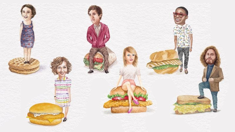Illustration for article titled Celebs On Sandwiches combines the two things just about everyone loves