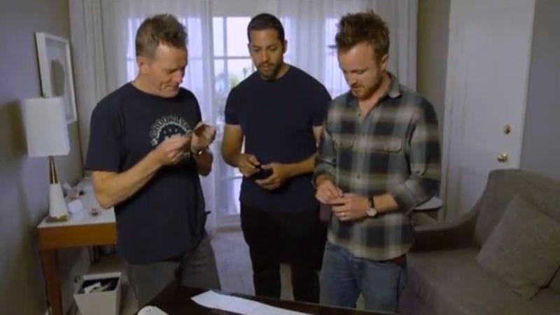 Watch David Blaine shock Bryan Cranston and Aaron Paul with a bit of close-up magic