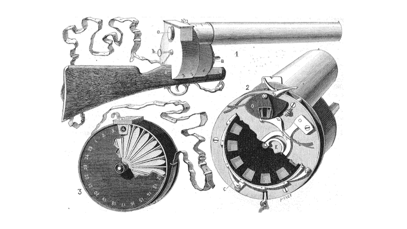 Illustration for article titled The World's First Handheld Movie Camera Was Shaped Like a Gun