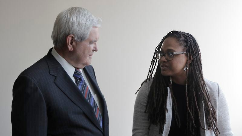 Newt Gingrich and Ava DuVernay in a behind the scenes image from 13TH (Photo: Netflix)