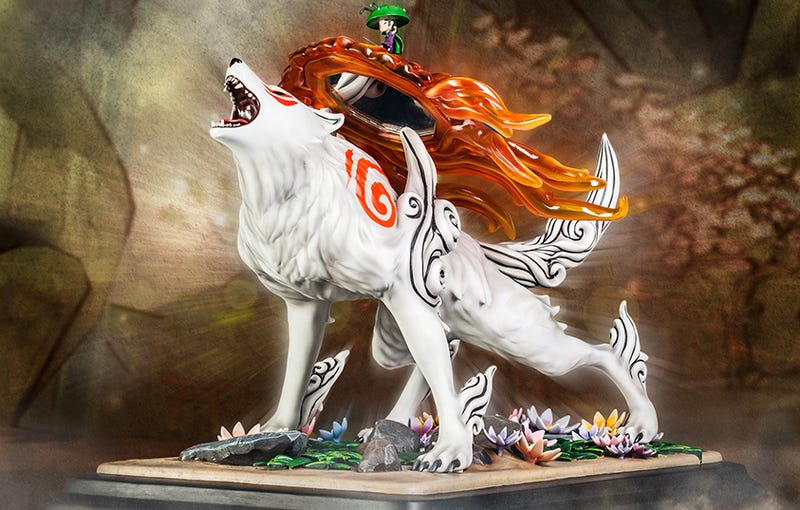 Illustration for article titled Okami's Wolf-Heroine Shines Heavenly Light on your Desk