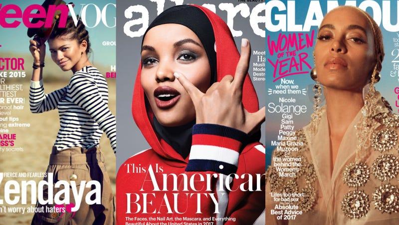 Images via Teen Vogue/Allure/Glamour.