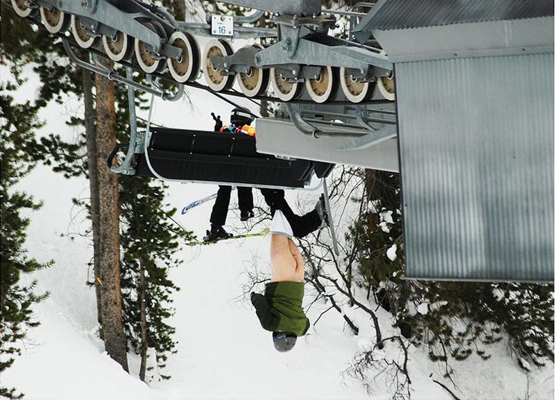 Colorado ski lift dangling butt ass
