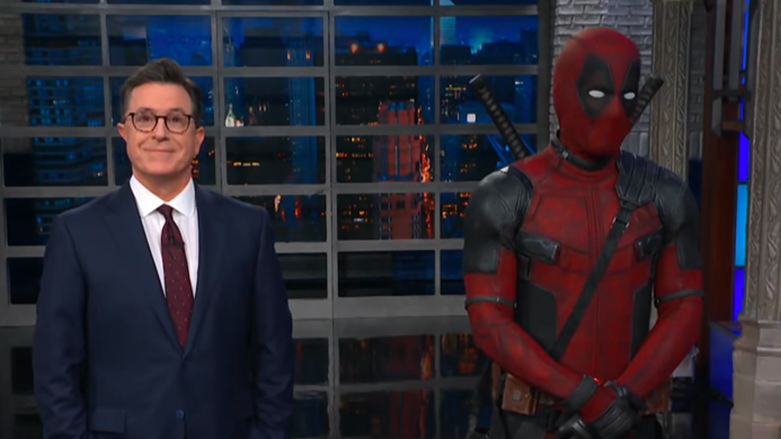 Deadpool leaps into The Late Show's continuity to take over Stephen Colbert's Trump jokes