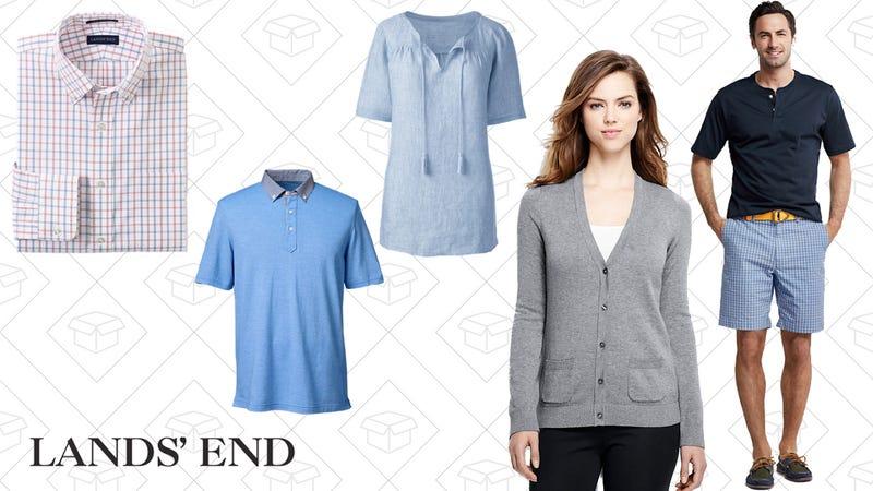 Men's Pattern No Iron Supima Pinpoint Buttondown Collar, $21-$33 | Men's Micro Mesh Woven Collar Polo Shirt, $21 | Women's Linen Blouse, $35 | Women's Cotton Modal Cardigan Sweater, $32 | Men's Short Sleeve Super-T Henley, $15