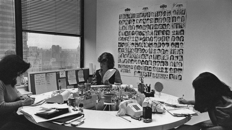 Elite Model Management office in New York City, February 1980. (Photo by Barbara Alper/Getty Images)