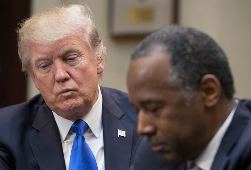 President Donald Trump holds a Black History Month listening session attended by Ben Carson and other officials on Feb. 1, 2017, in Washington, DC. (Michael Reynolds/Pool/Getty Images)